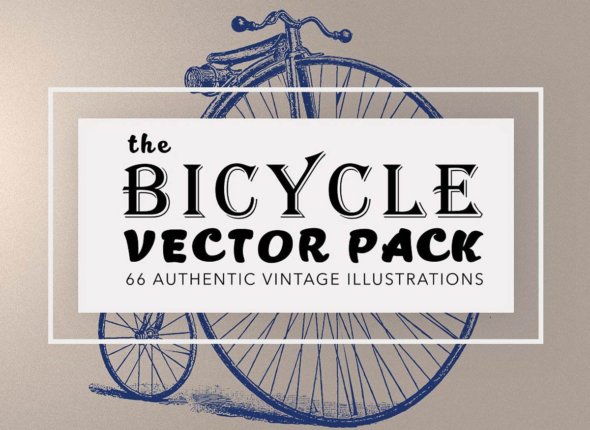 Hand Drawn Vintage Bicycles