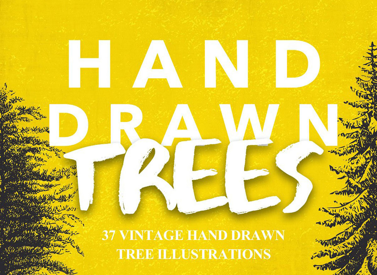 Vintage Hand Drawn Trees Bundle
