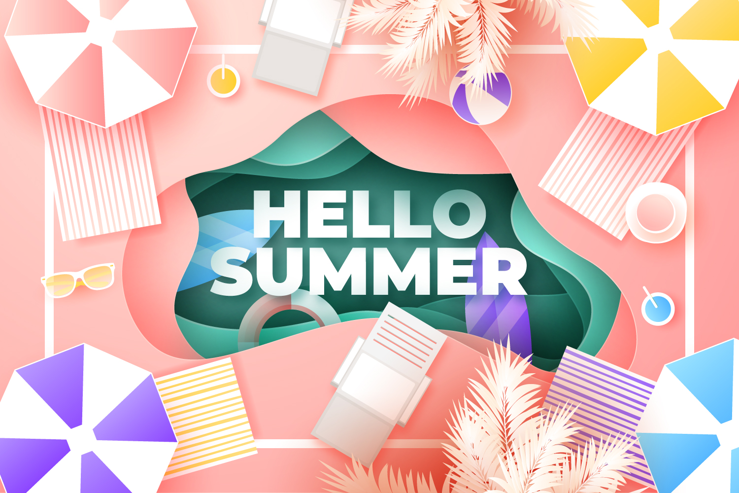 summer paper style illustration